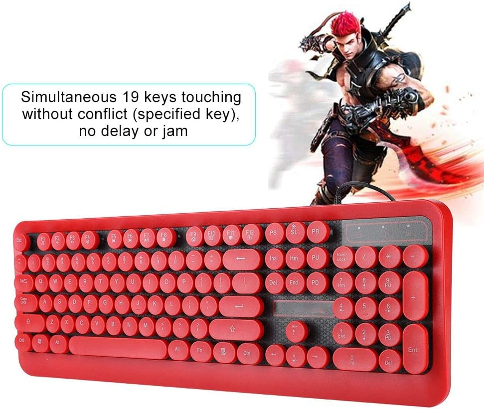 Computer Accessory Anti-Splash Internal Drainage Design Ergonomic Professional Noise Reduction Keyboards for Windows//MAC//OS Bewinner Wired Game Keyboard Red Without Light