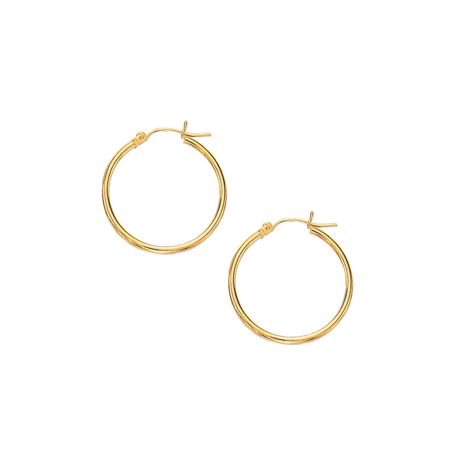 10K Yellow//White Gold Shiny Round Hoop Earring with Hinged Clasp