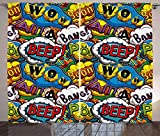Ambesonne Superhero Curtains, Comics Speech Bubbles Beep Wow with Vivid Old Effects Boys Supernatural Print, Living Room Bedroom Window Drapes 2 Panel Set, 108 W X 108 L Inches, Multicolor