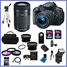 Canon EOS Rebel T5i 18.0 MP CMOS Digital Camera (USA Warranty) with EF-S 18-55mm f/3.5-5.6 IS STM Zoom Lens & Canon EF-S 55-250mm f/4-5.6 IS STM Lens + High Quality 2.2X Telephoto & .43X Wide Angle Lenses + Auto Power Flash + 48GB Accessory Bundle Kit