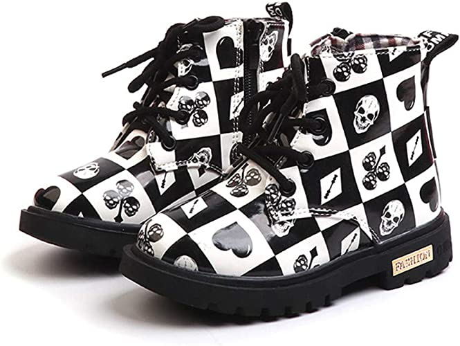 Children Martin Boots Boys and Girls Lace Grid Lined Ankle Boots Martin Shoe New