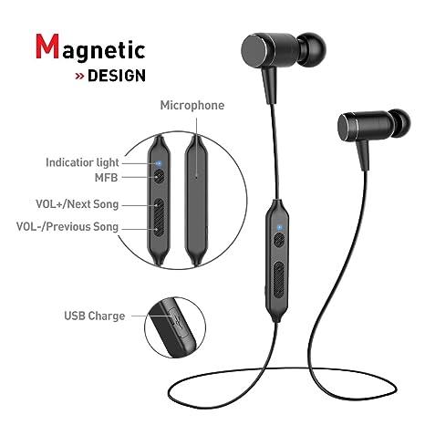 Auriculares Bluetooth magnético 4.1 Cascos inálambrico Deportivos,Bluetooth Headphones tienen tecnología de Ruido de Cancelación,Con Sonido Estéreo de ...