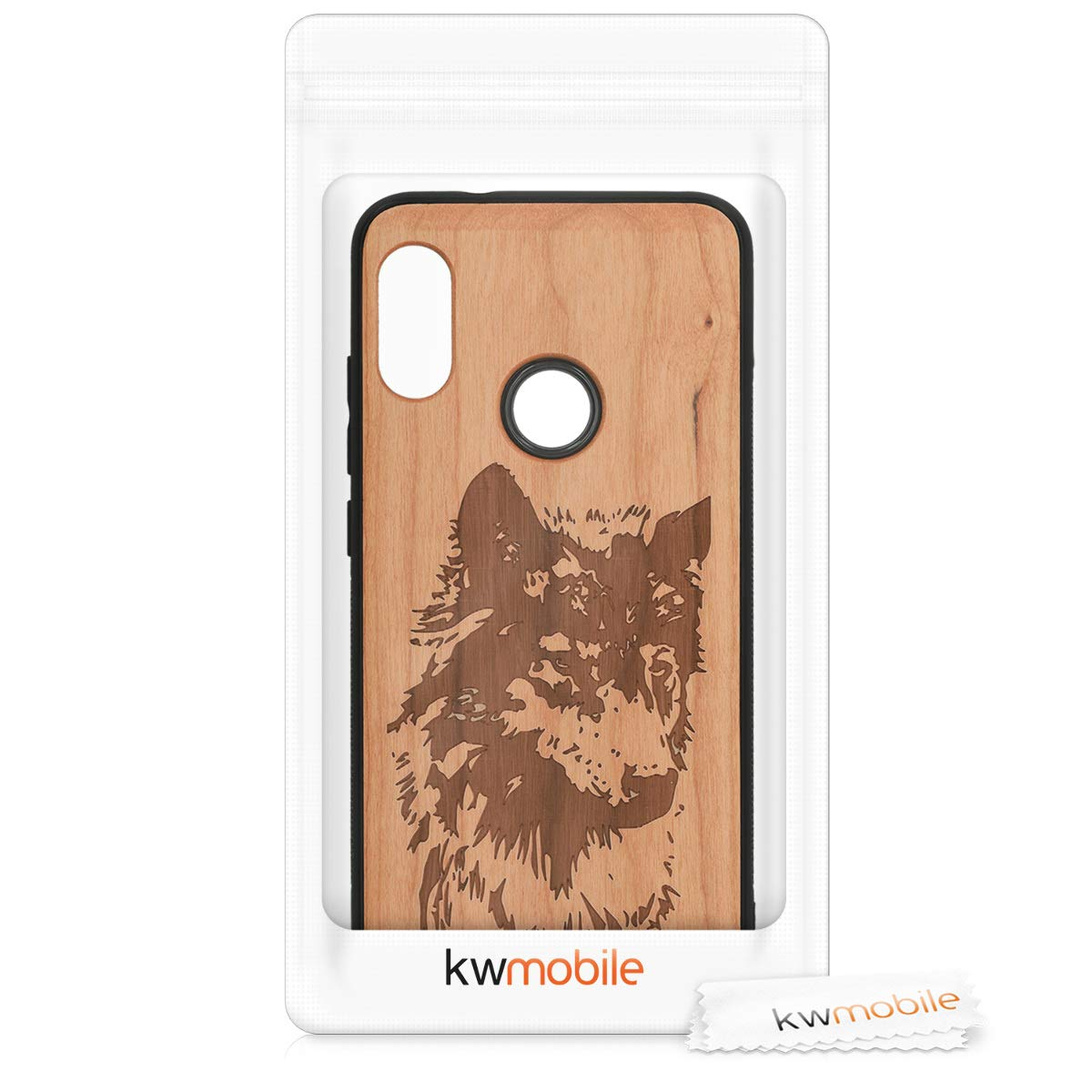 kwmobile Wooden Protection case for Xiaomi Redmi 6 Pro/Mi A2 Lite - Hard case with TPU Bumper Wolf Head Cherrywood
