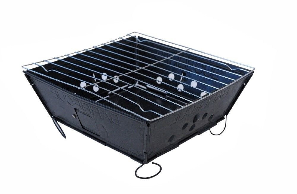 Globe House Products GHP 6.5-Lbs Capacity Portable Folding BBQ Grill with Attachable Legs & Grill Top