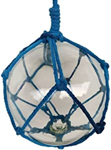 Hampton Nautical BR-Clear-10 Clear Japanese Glass Ball Fishing Float with Dark Blue Netting 10
