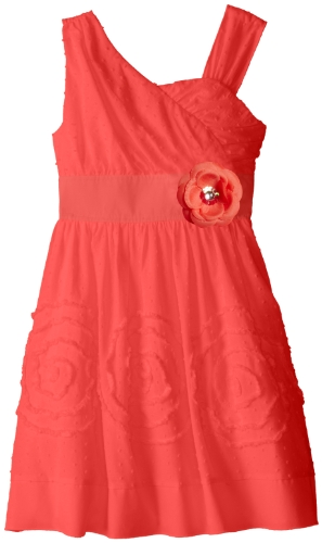 My Michelle Big Girls' Asymmetrical Bodice Dress with Flower At Waist