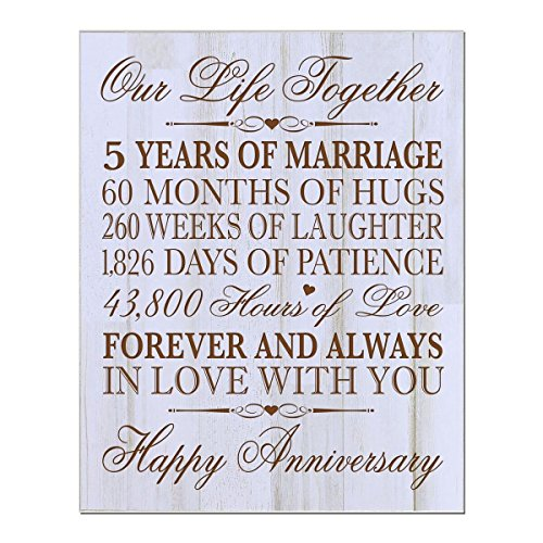 5th Wedding Anniversary Wall Plaque Gifts for Couple, 5th Anniversary Gifts for Her,5th Wedding Anniversary Gifts for Him 12 W X 15'' H Wall Plaque By LifeSong Milestones (Distressed Wood) by LifeSong Milestones