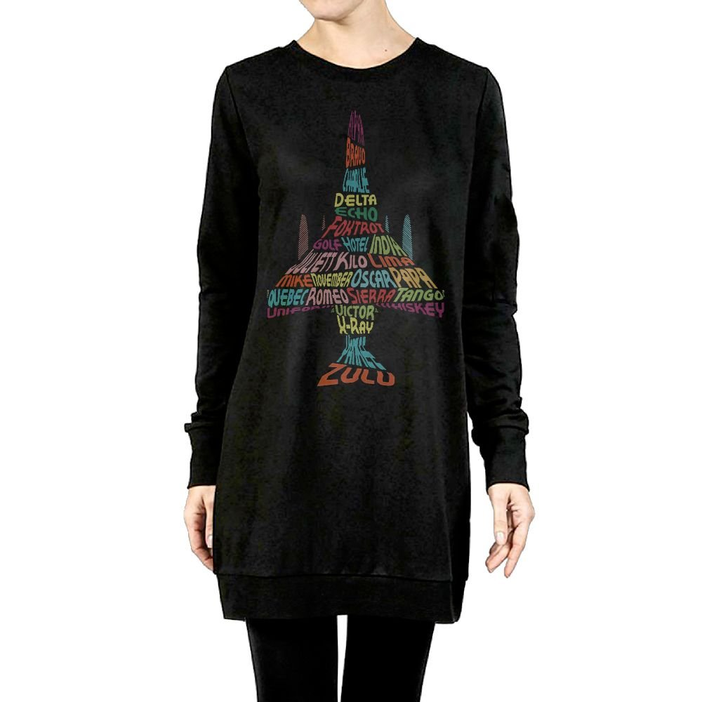 Beauty/&Fashions Alphabet Airplane Female Cotton Hoody Casual Long-Sleeved Sweatshirt Clothing