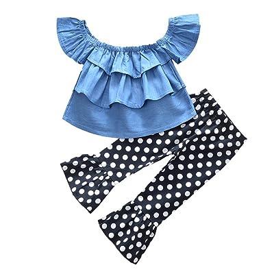 2Pcs Baby Girl Clothes Off Shoulder Ruffles Denim T Shirt Top and Flares Dot Print Pants Summer Outfits Set