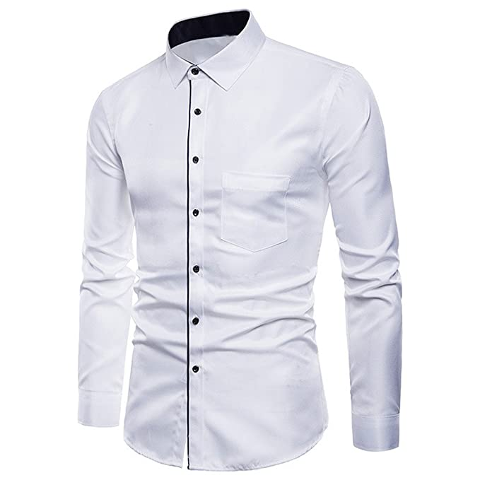 Camicia Uomo LandFox Slim Fit Mens Manica Lunga Oxford Formale Abiti Casual  Slim Fit Tee Camicie Camicetta Superiore Tinta Unita Regular Fit Business  Tuta ... 45c1cf32d5e