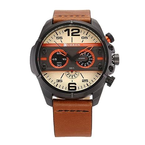 02d3348cdab3 JUNERAIN Curren Reloj de Pulsera Analógico Casual Correa de Cuero Esfera  Grande Reloj de Cuarzo Resistente