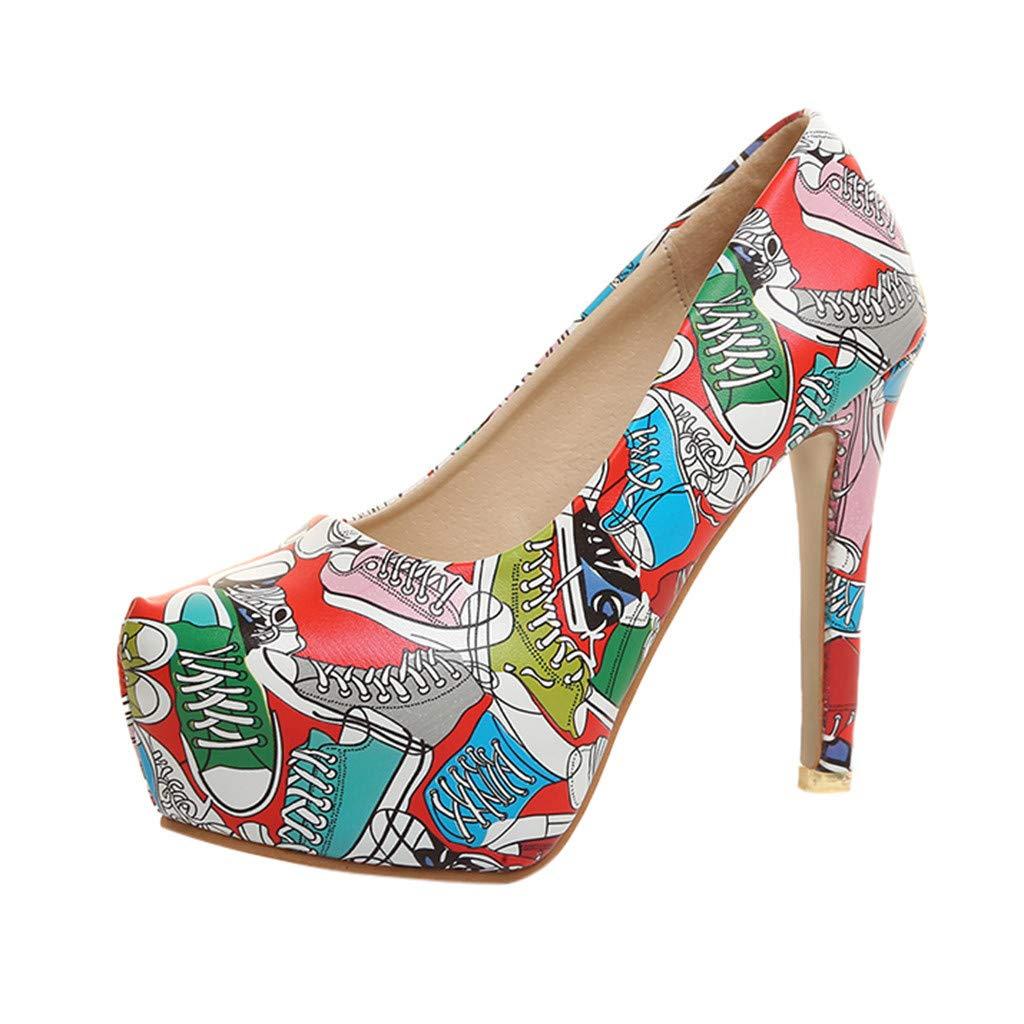 9877d744f949 Amazon.com  AOP❤️Women s Sandals Ladies Flower Graffiti Super High Heels  Playforms Sandals US Size 4.5-8.5 Roman Shoes  Clothing