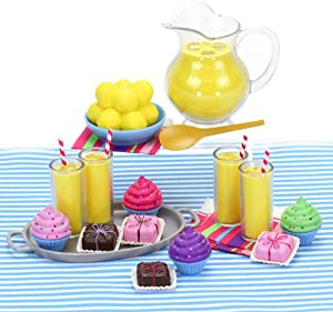 Sophia's Doll Complete Set of Doll Food Cupcakes, Petit Fours, Lemonade Pitcher, Lemons, Glasses of Lemonade and More | Sized for 18 Inch Dolls Miniature Food Play Sets and All American Dolls & More!