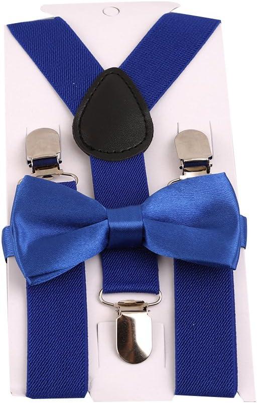 Rurah Adjustable Suspenders and Bowtie Set for Wedding Party,Dark Green