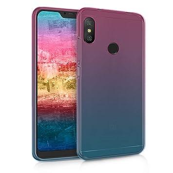 kwmobile Funda para Xiaomi Redmi 6 Pro / Mi A2 Lite - Carcasa para móvil de TPU con diseño bicolor - rosa fucsia / azul / transparente