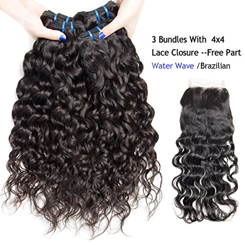 VIPbeauty 3 Bundles and Closure Indian Water Wave 18 20 22+16 inch 3 Bundles with Closure Unprocessed Hair Extension For Sale