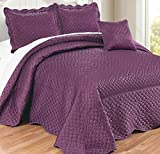 4 Piece Luxurious Eggplant Purple Queen Bedspread Set, Geometric Themed Bedding Satin Stylish Modern Trendy Pretty Classic Elegant Satin Silky French Country Warm Scalloped Solid, Polyester