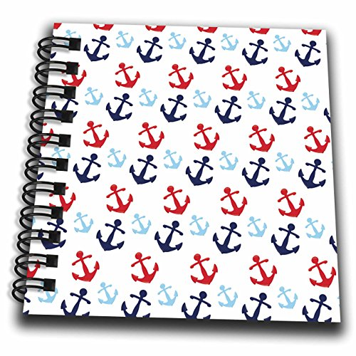 3dRose Anne Marie Baugh - Patterns - Cute Red, White, Blue Sailing Anchors Pattern - Mini Notepad 4 x 4 inch (db_274153_3)