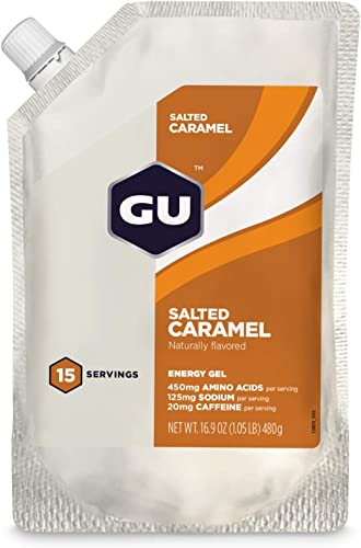 GU Energy Original Sports Nutrition Energy Gel, 15-Serving Pouch, Salted Caramel