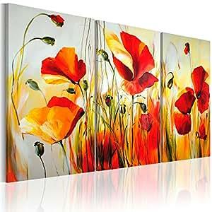 100% pintados a mano - cuadro pintado a mano + fotos directamente del artista + pintura + pinturas de paredes modernas + disenos únicos e irrepetibles - cuadro en lienzo + tríptico 3 partes + flores + 22035 + 120x80 cm +++