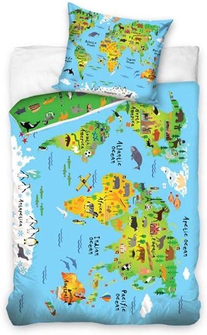 Housse de couette Carte du Monde 160X200 100% coton: Amazon ...