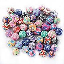 Pack of 50 Floral Fimo Polymer Clay Round Spacer Beads Craft for Jewelry Making Findings 10mm