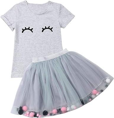Kids Baby Girls Toddler T-shirt Tops Skirt Tutu Dress 2PCS Set Outfits Clothes