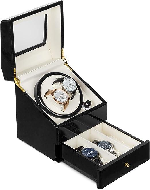 Klarstein Geneva - Estuche de Relojes, Caja para Relojes, para 2 Relojes automáticos, 4 Modos, Rotación hacia la Derecha o Izquierda, Cajón para Relojes, Negro: Amazon.es: Hogar