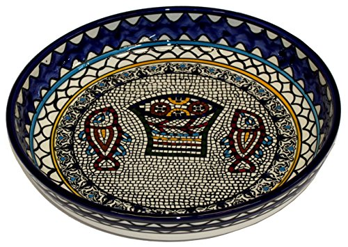 Tabgha or Fish and Bread multiplication miracle Armenian ceramic Bowl - X-Large (13-14 inches or 32-35cm in diameter) - Asfour Outlet Trademark (Miracle Cookware compare prices)