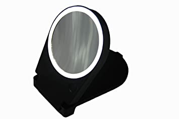 Lighted Travel Makeup Mirror 15x.Floxite 15x Lighted Travel Home Mirror Black