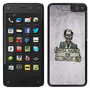 LECELL--Funda protectora / Cubierta / Piel For Amazon Fire Phone -- Zombie Cita Cerebro divertido del dibujo del arte de la historieta --