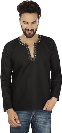 MapleClothing Maple Clothing Arce Ropa Bordado Moda Camisa para Hombre Corto Kurta algodón Indian Ropa