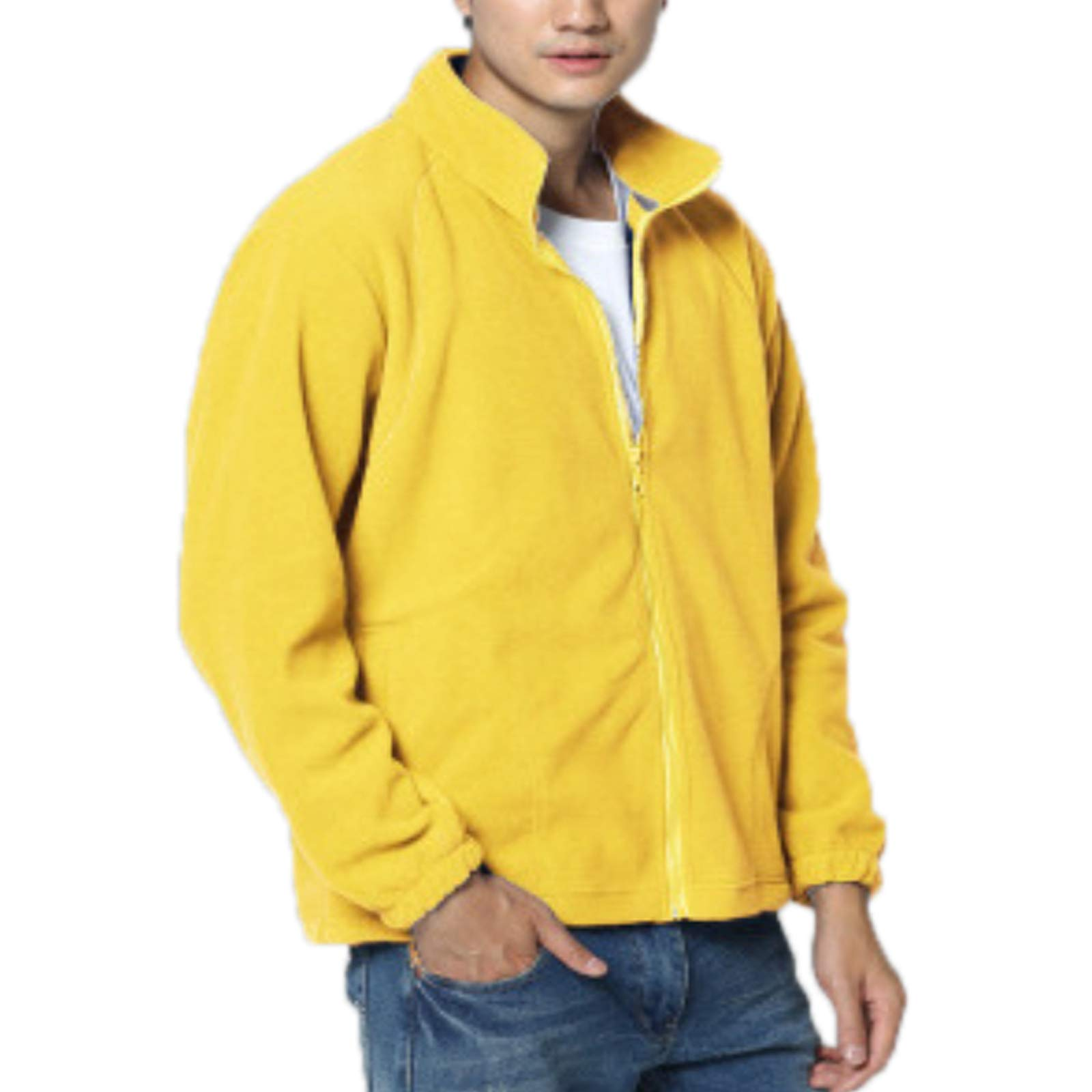 Elonglin Mens Fleece Jacket Full Zip Stand Collar Sportwear Top Outwear Yellow1 Bust 50.7''(Asie 3XL) by Elonglin