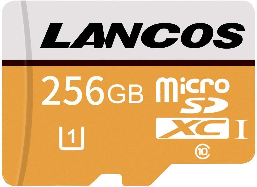 LANCOS 256 GB Clase 10 UHS-I MicroSDXC Tarjeta de Memoria con Adaptador SD