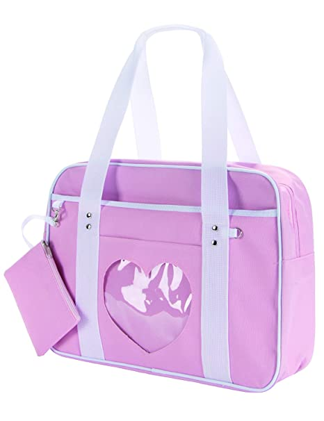 Japanese Anime School JK Uniform Casual Shoulder bag Cosplay Yoga bag with Coin Purse(Light pink)