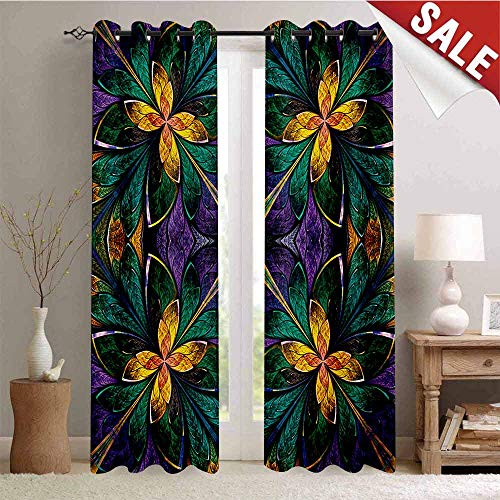 Hengshu Fractal Decor Curtains by Antique Ornate Symmetric Stained Glass Mosaic Window Style Floral Tile Pattern Room Darkening Wide Curtains W84 x L96 Inch Green Purple