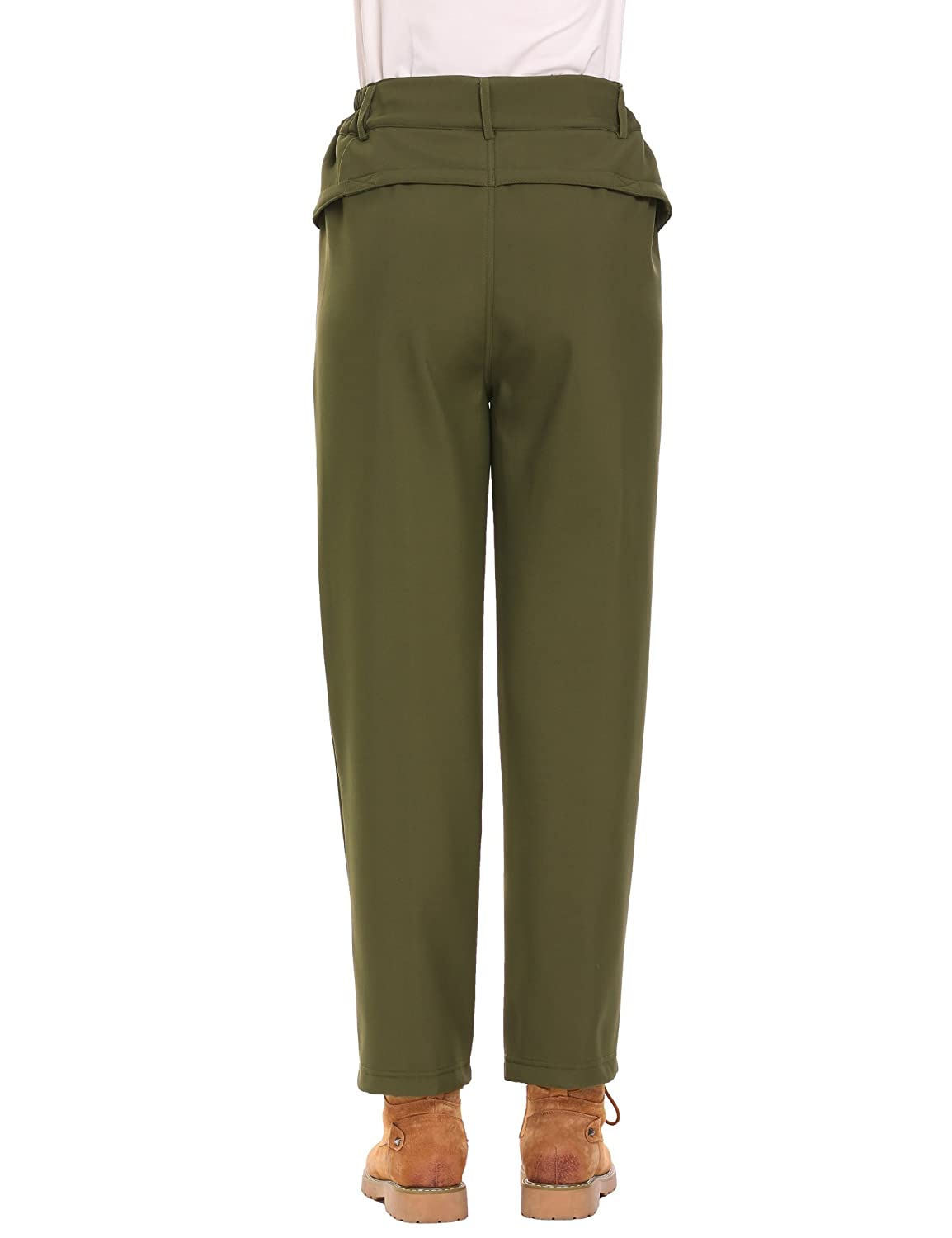 INVOLAND Womens Winter Outdoor Waterproof Fleeced Lined Hiking Pants Insulated Snow Ski Cargo Pants with Pockets