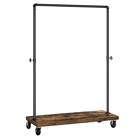 SONGMICS Clothes Rack, Industrial Pipe Style Rolling Garment Rack with Shelf, Lockable Wheels, Heavy Duty Clothing Rack for Laundry Room, Retail ...