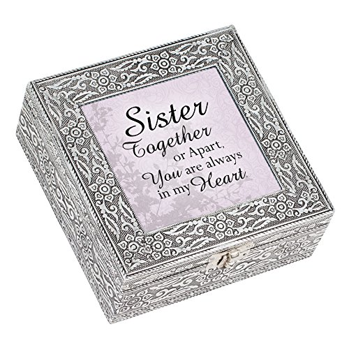 Sister Together Always in Heart Silver Stamped Metal Jewelry Music Box Plays Tune That's What Friends are For
