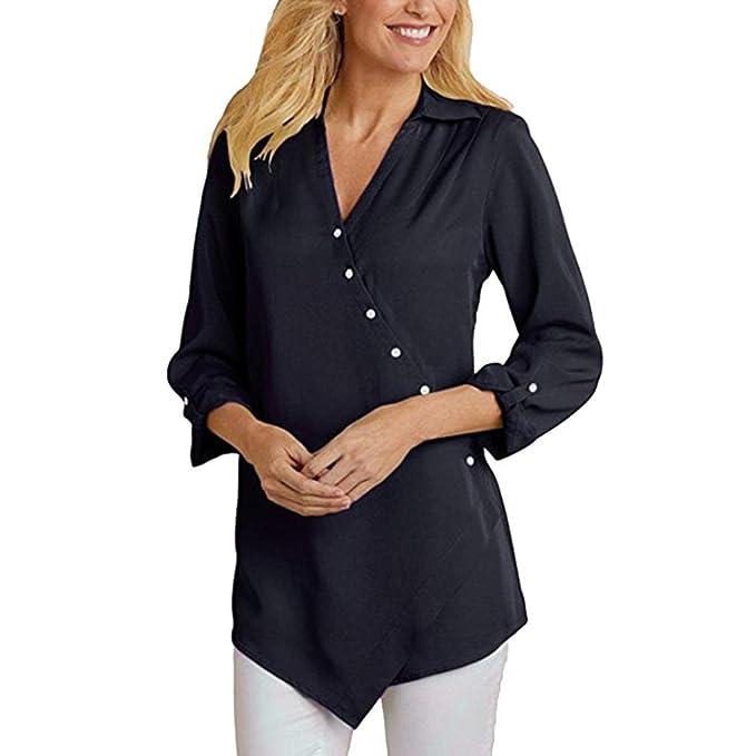 DAYLIN Mujer Verano Camisetas Moda Manga Larga Escote en V Blusas Suelto Tops con Botones: Amazon.es: Ropa y accesorios