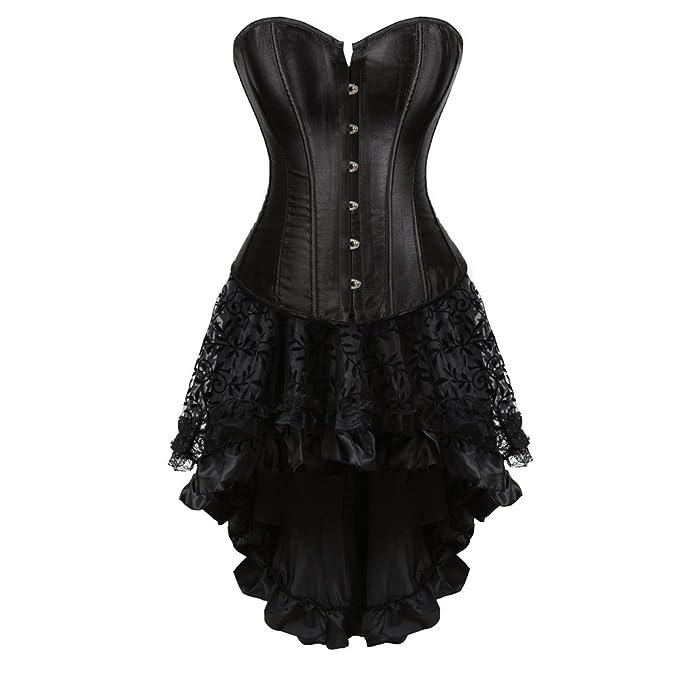 aizen Dress Corset gotico Mujer Vestido corsés y Bustiers Falda cordón Burlesque Halloween Sexy Talla Grande