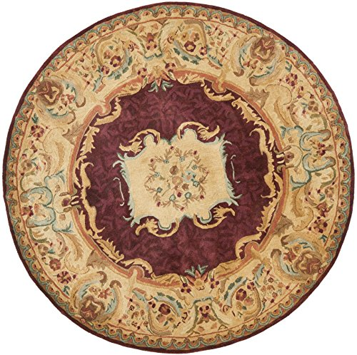 Safavieh Empire Collection EM422A Handmade Traditional European Burgundy and Gold Premium Wool Round Area Rug (6' Diameter) (Rugs Collection Empire)