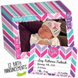 Birth Announcement 12-Pack for Baby Girl with Customizable...