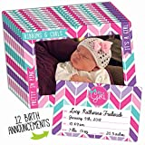 Birth Announcement 12-Pack for Baby Girl with Customizable Birth Announcement Magnet Keepsake and Magnetic Picture Frame That Fits Both 4x6 and 5x7 Inch Photos