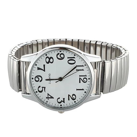 refurbishhouse números Grandes Extensible Acero Hombres Damas Sports Reloj de Pulsera 1,4 Pulgadas: Amazon.es: Relojes