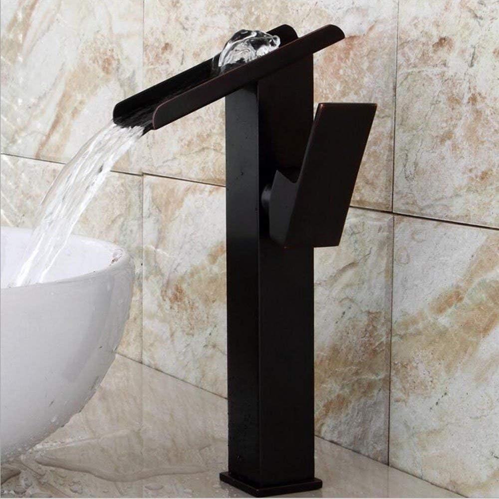 argent jruia Elegante Cascade Robinet /à bec haut Mitigeur de lavabo Robinet mitigeur monocommande pour lavabo robinet dembouts Batterie pour salle de bain en laiton chrom/é