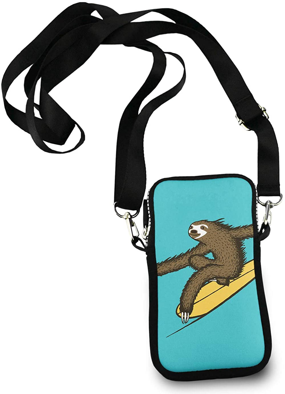 Cell Phone Purse Mini Crossbody Bag Smartphone Wallet Headphone Bag Surfing Sloth