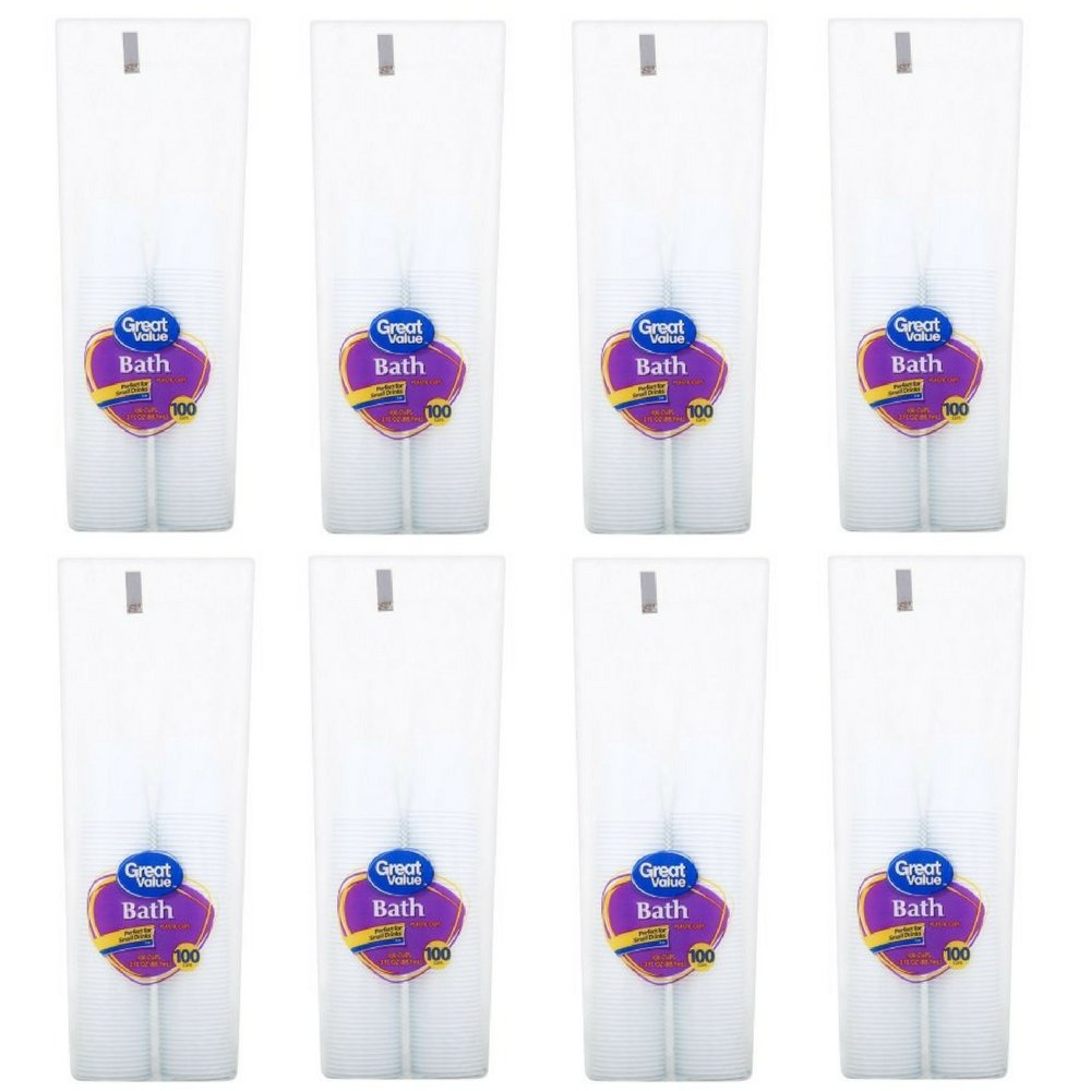 Bath Great Value 3 Oz White Plastic Cups, 100 Ct (8 PACK)