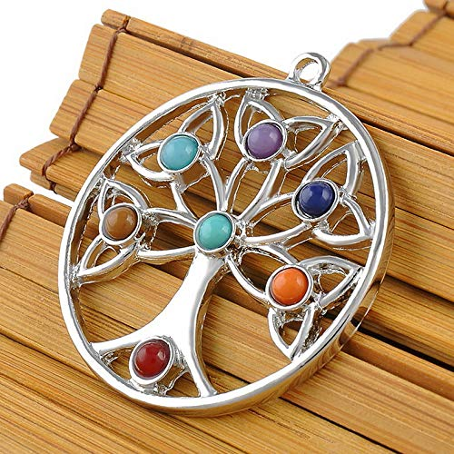 Mikash Natural Gemstone Reiki Chakra Healing Beads Silver Pendant for Necklace Gift | Model NCKLCS - 37645 |