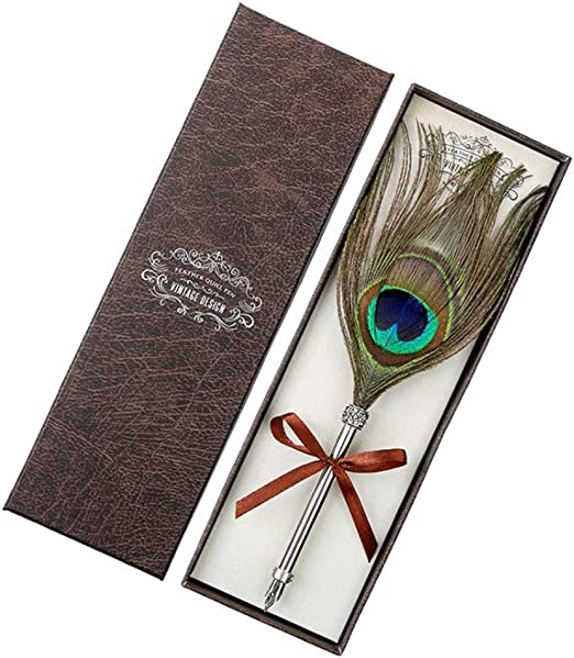 Pluma estilogr/áfica vintage con plumas de pavo real